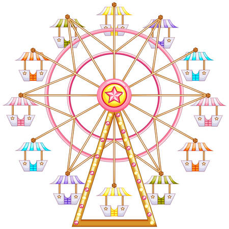 amusement park rides: Illustration of a ferris wheel ride on a white background