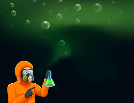educated: Illustration of a chemist holding a cylinder with chemicals