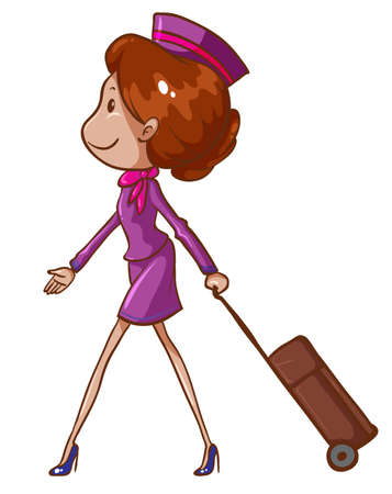 Illustration of a simple drawing of an air hostess on a white background Illustration