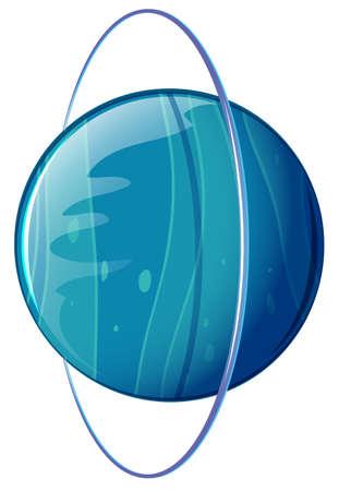 milkyway: Illustratie van een blauwe planeet op een witte achtergrond