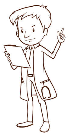 Illustration of a simple sketch of a doctor on a white background Vector