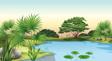circundante: Ilustra��o das plantas verdes que cercam a lagoa