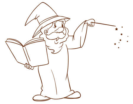 Illustration of a simple sketch of a wizard on a white background 일러스트