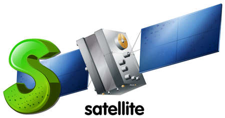 civilian: Illustration of a letter S for satellite on a white background