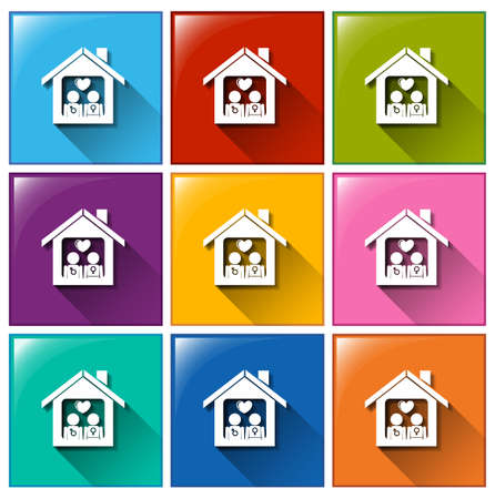 violet residential: Illustration of the house icons on a white background Illustration