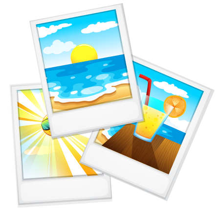 sides: Illustration of the beach photos on a white background