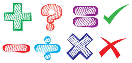 Illustration of the mathematical symbols on a white background