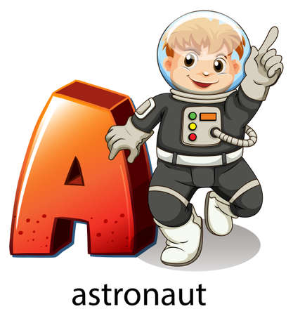 labelling: Illustration of a letter A for astronaut on a white background