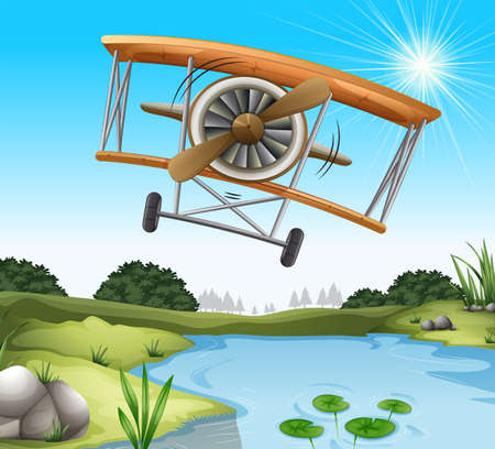 supersonic plane: Illustration of a plane above the pond