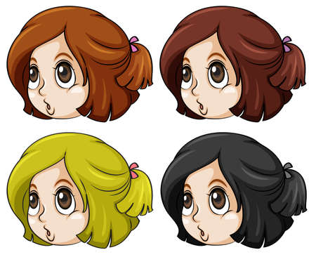 hair color: Illustration of the girls with different hair colors on a white background