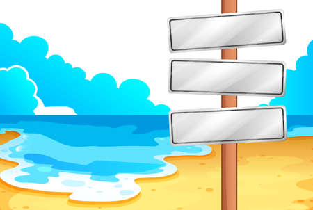Illustration of the empty signboards at the beach on a white background Illustration