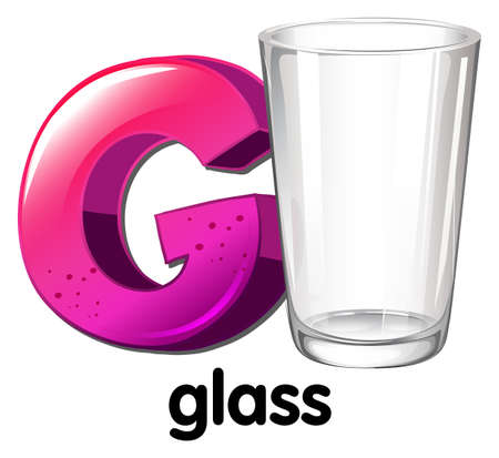 liquid g: Illustration of a letter G for glass on a white background Illustration