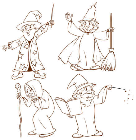 witchdoctor: Illustration of the sketches of wizards on a white background Illustration
