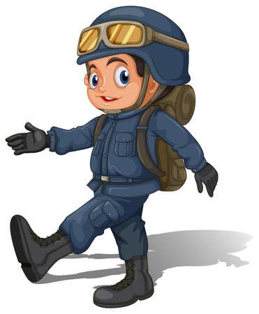 fallschirmj�ger: Illustration eines jungen Soldaten auf einem wei�en Hintergrund