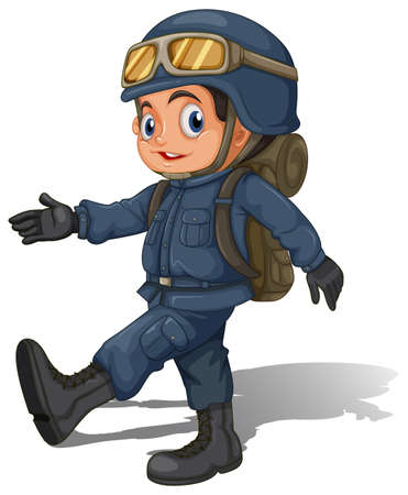 trooper: Illustration of a young soldier on a white background Illustration