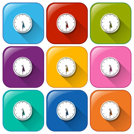 vibrations: Illustration of the icons with clocks on a white background