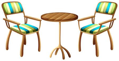 ergonomie: Illustration der Tisch und Stuhl M�bel auf einem wei�en Hintergrund