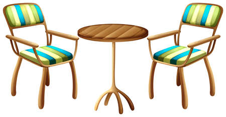 Illustration of the table and chair furnitures on a white background Illustration