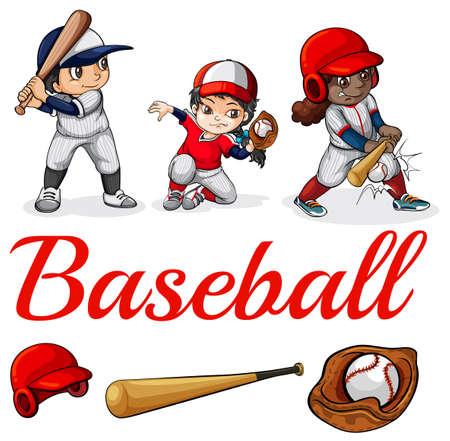 guante de beisbol: Ilustración de los jugadores de béisbol sobre un fondo blanco