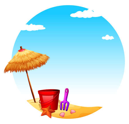 wavelengths: Illustration of a beach with an umbrella and toys on a white background