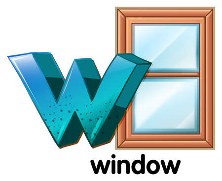 opened eye: Illustration of a letter W for window on a white background Illustration