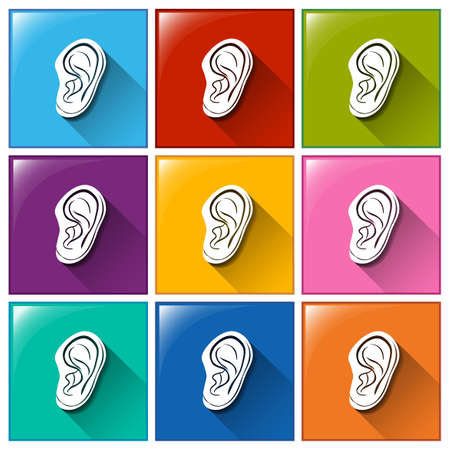 sounds: Illustration of the sense of hearing icons on a white background