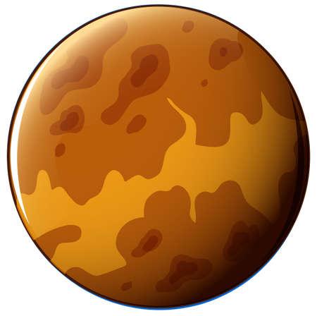 milkyway: Illustratie van een bruine planeet op een witte achtergrond