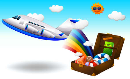 jets: Illustration of a summer trip on a white background