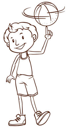 Illustration of a simple sketch of a man playing basketball on a white background Vector