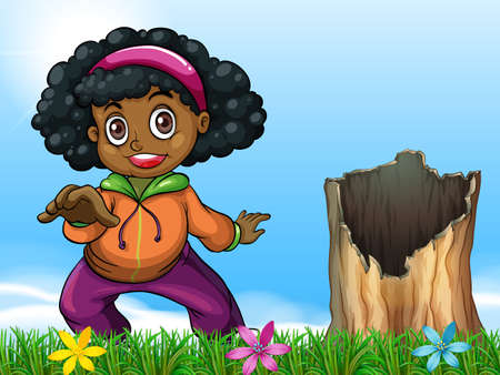 dark complexion: Illustration of a girl beside the stump Illustration