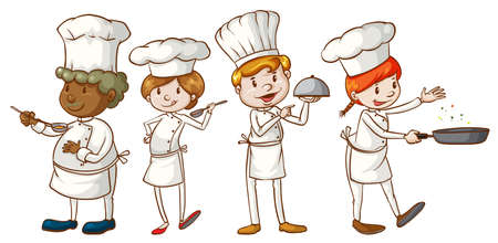 simple girl: Illustration of the simple sketches of chefs on a white background Illustration