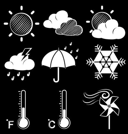 anthropological: Illustration of the different weather conditions on a black background