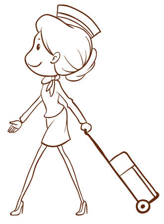 crew: Illustration of a simple sketch of an air hostess on a white background Illustration