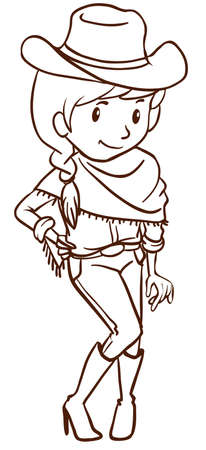 Illustration of a simple sketch of a cowgirl on a white background Vector