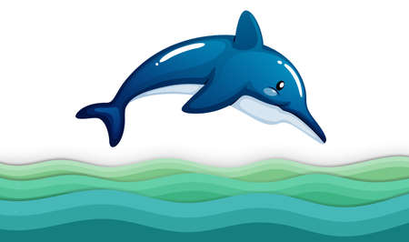wavelengths: Illustration of a dolphin in the ocean on a white background Illustration