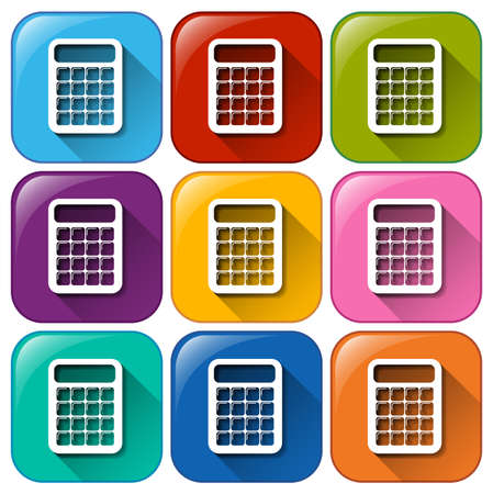 compute: Illustration of the icons with calculators on a white background Illustration