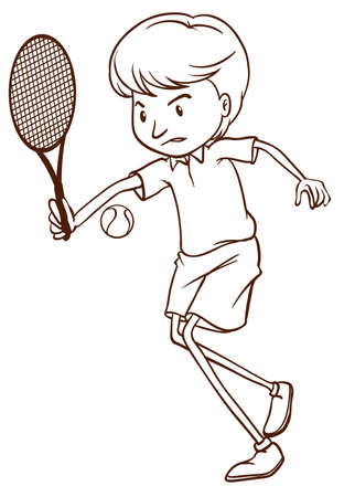 rehearsal: Illustration of a simple sketch of a man playing tennis on a white background