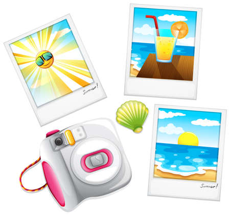 Illustration of the different summer photos on a white background Illustration