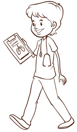 simple life: Illustration of a sketch of a simple doctor on a white background