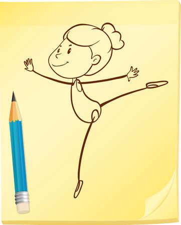 grafito: Ilustración de un dibujo de una chica bailando Vectores