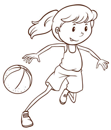 Illustration of a simple sketch of a female basketball player on a white background Vector
