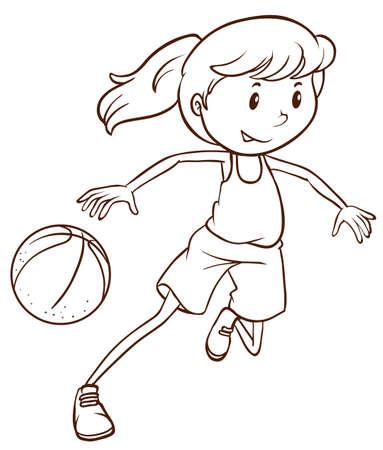 baloncesto chica: Ilustración de un dibujo sencillo de un jugador de básquet de sexo femenino sobre un fondo blanco