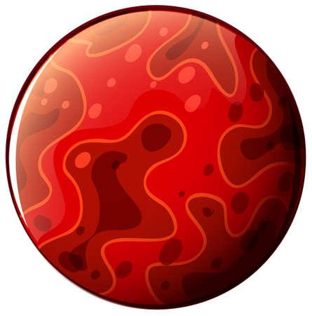 milkyway: Illustratie van een rode planeet op een witte achtergrond Stock Illustratie