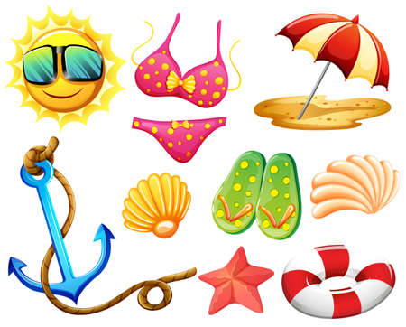 Illustration of the different things used during summer on a white background Vector