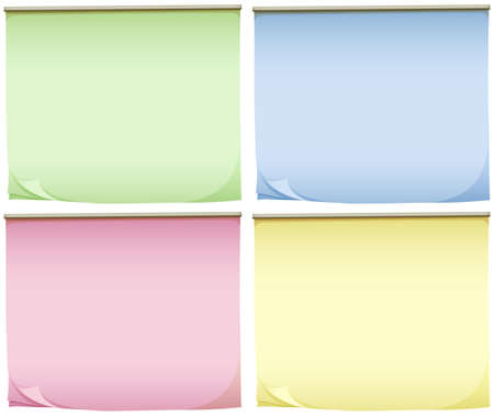 memo pad: Illustration of the four pads of colourful papers on a white background Illustration