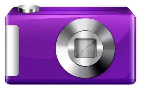 encodes: Illustration of a violet digital camera on a white background