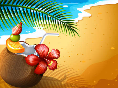 coconut water: Illustration of a refreshing coconut juice drink at the beach
