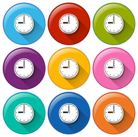 pulses: Illustration of the round icons with clocks on a white background