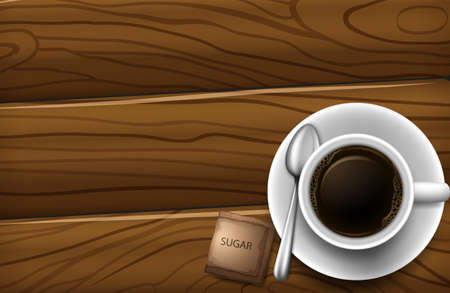 stimulant: Illustration of a topview of a table with a cup of coffee Illustration