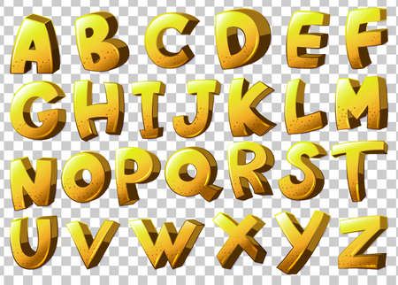 Illustration of the alphabets in yellow color on a white background